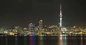 View of Auckland's Skyline at night