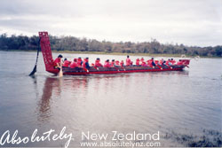Having a ride on a Maori Waka